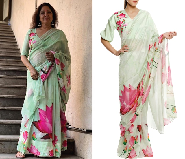 Mint Green Big Lotus Print Saree with Unstitched Blouse Piece by Masaba