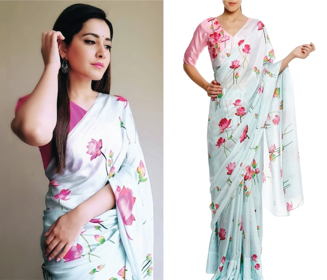 Aqua Blue Lotus Print Saree with Unstitched Blouse Piece by Masaba