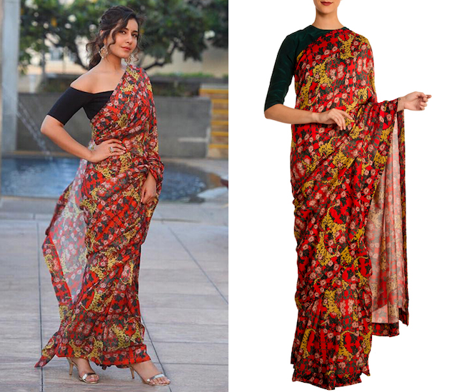 Red Tiger and Lilies Print Saree with Blouse Piece by Masaba