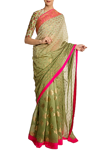 Mint Ombred Heritage Fish and Kalash Print Saree with Blouse Piece by Masaba