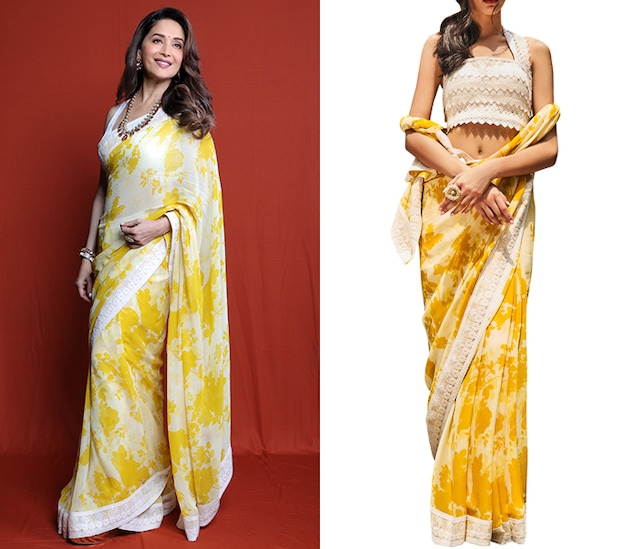 Yellow & Ivory Printed Saree Set by Varun Bahl