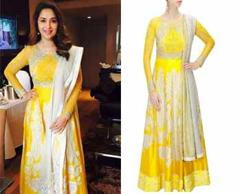Yellow heavily embroidered anarkali set by Varun Bahl