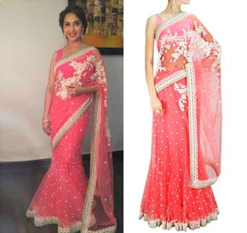 Pink threadwork and pearl embellished sari with satin blouse piece by Sabyasachi