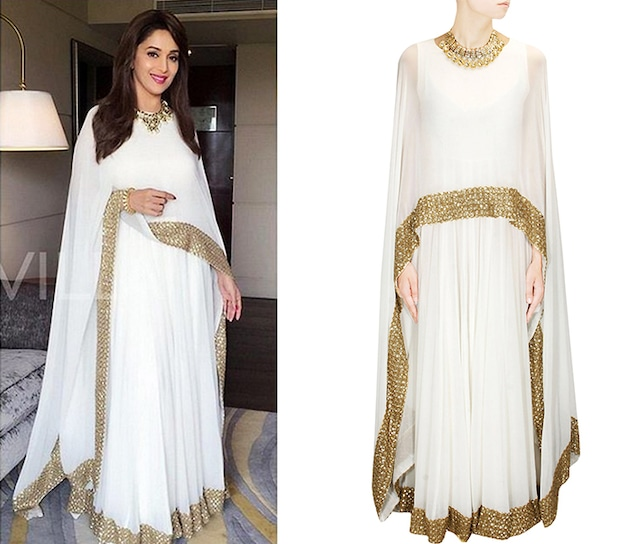 White shimmer embellished border cape gown/anarkali by Prathyusha Garimella