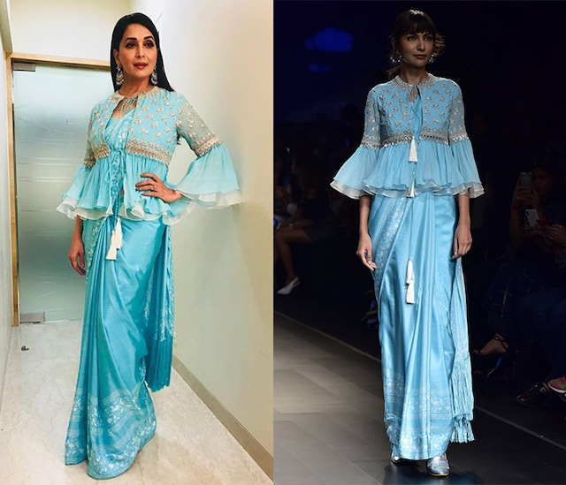 Aqua Printed Saree with Embroidered Blouse by Ridhi Mehra