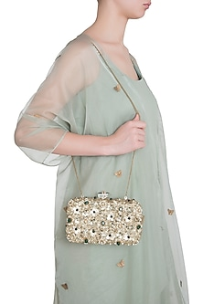 Gold Embroidered Emerald Rectangular Clutch by Malaga