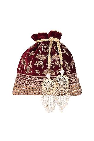 Maroon Embroidered Batwa Potli by Malaga