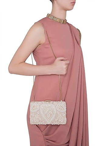 Beige Embroidered Sequins Rectangular Clutch by Malaga