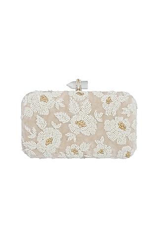 Beige Embroidered Velvet Rectangular Clutch by Malaga