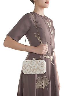 Beige Embroidered Velvet Rectangular Clutch by Malaga