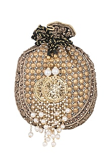 Antique Gold Embroidered Batwa Potli by Malaga