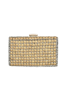 Antique Gold Embroidered Rectangular Clutch by Malaga