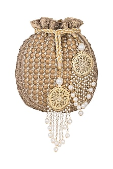 Antique Gold Embroidered Sequins Batwa Potli by Malaga
