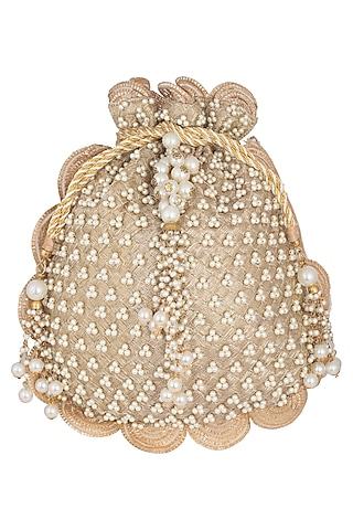 Gold Embroidered Batwa Potli by Malaga