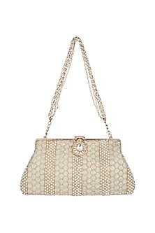 Gold Sequins Chained Clutch by Malaga