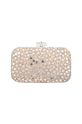 Brown Embroidered Velvet Rectangular Clutch by Malaga