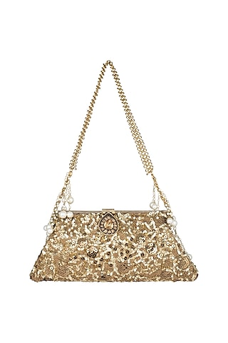 Antique Gold Sequins Chained Clutch by Malaga