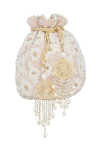 Beige Embroidered Pearl Batwa Potli by Malaga