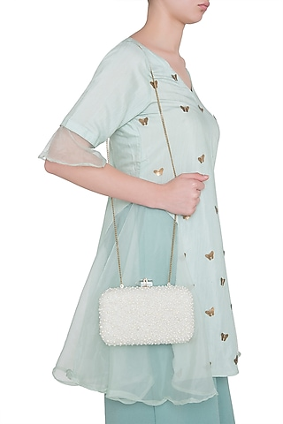 Ivory Embroidered Rectangular Clutch by Malaga