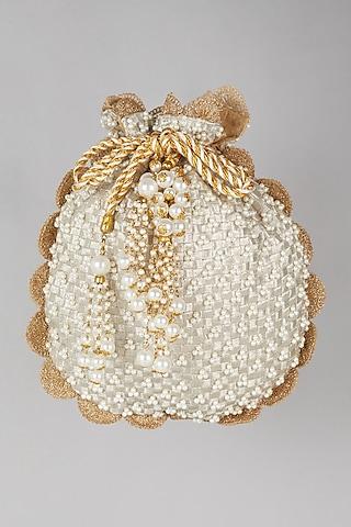 Beige Pearl Embroidered Batwa Potli by Malaga