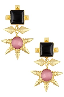 Gold Plated Pink and Black Semi Precious Stone Earrings by Maira