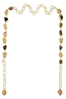 Gold Plated Multicolor Rough Stone Necktie/ Necklace by Maira