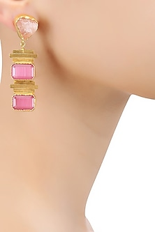 Gold Plated Pink Layered Semi Precious Stone Earrings by Maira