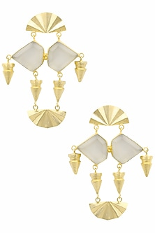 Gold Plated White Egyptian Semi Precious Stone Earrings by Maira