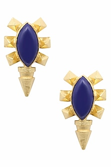 Gold Plated Royal Blue Semi Precious Stone Stud Earrings by Maira