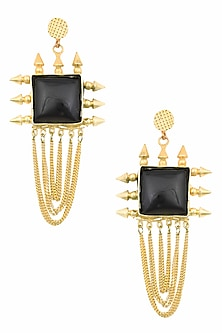 Gold Plated Black Loop Chain Aunaxe Earrings by Maira