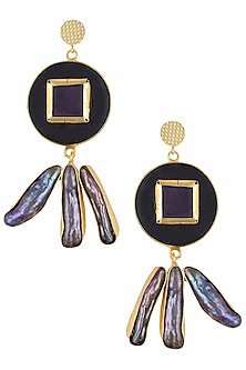 Gold Plated Black Stone and Mother of Pearl Statement Earrings by Maira