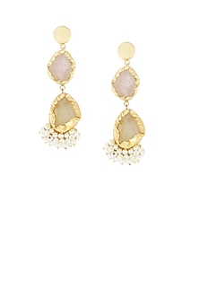 Gold plated dual rough stones pearl gucha earrings by Maira