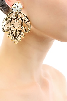 Gold plated filigree tear drop earrings by Maira