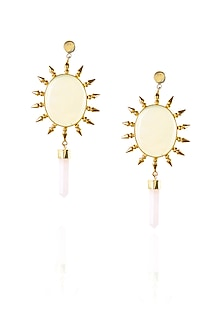 Gold plated onyx stone pencil hanging earrings by Maira
