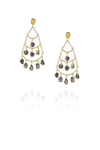 Gold plated rough stone chandelier earrings by Maira