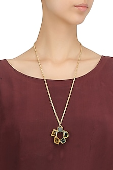 Gold Plated Multi-Color Semi Precious Stone Necklace by Maira