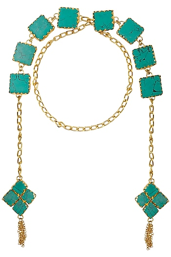 Gold Plated Square Turquoise Semi Precious Stone Open Necktie/Necklace by Maira