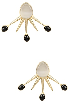 Gold Plated White and Black Glass Stone Spike Earrings by Maira