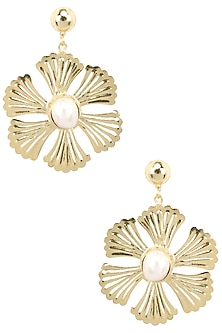 Gold Plated Mother Of Pearl Floral Earrings by Maira