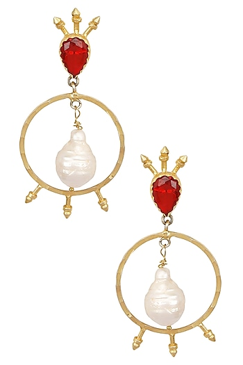 Gold Plated Semi Precious Stone Circular Earrings by Maira