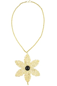 Gold plated textured black onyx stone filigree necklace by Maira