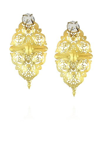 Gold plated filigree light weight diamond shaped earrings by Maira