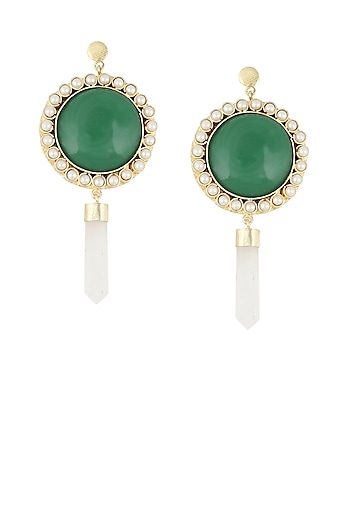 Gold plated onyx stone hanging pencil earrings by Maira