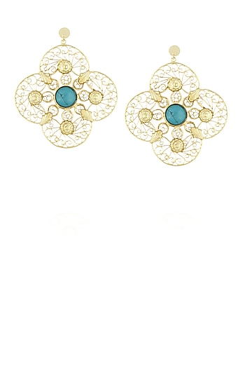Gold plated clover textured centre stone filigree earrings by Maira