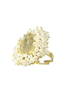Gold plated pearl gucha rough stone ring by Maira