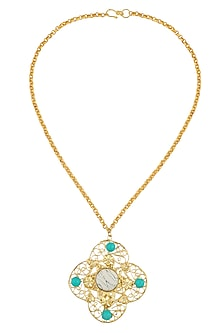 Gold Plated Textured Onyx Stone Filigree Necklace by Maira