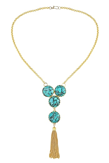 Gold Plated Textured Turquoise Onyx Stone Fringes Hanging Necklace by Maira