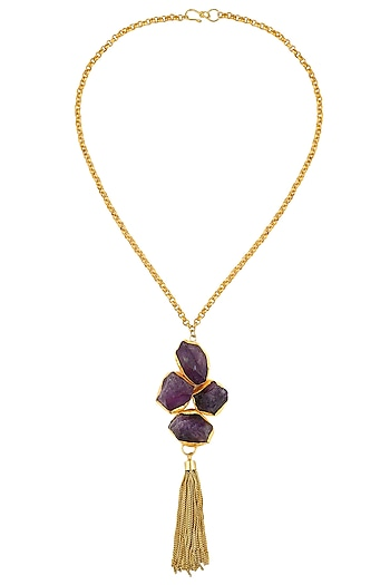 Gold Plated Purple Uncut Onyx Stone Fringes Hanging Necklace by Maira