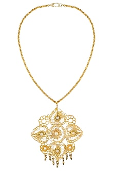 Gold Plated Pearl Studded Oversized Filigree Pendant Necklace by Maira