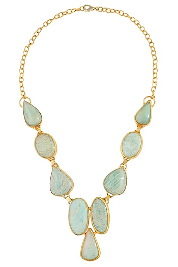 Gold Plated Blue Textured Onyx Stones Necklace by Maira